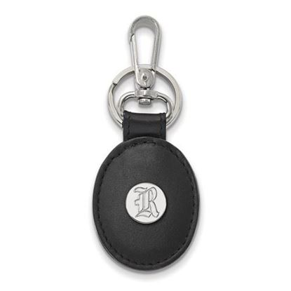 Picture of Rice University Owls Sterling Silver Black Leather Oval Key Chain