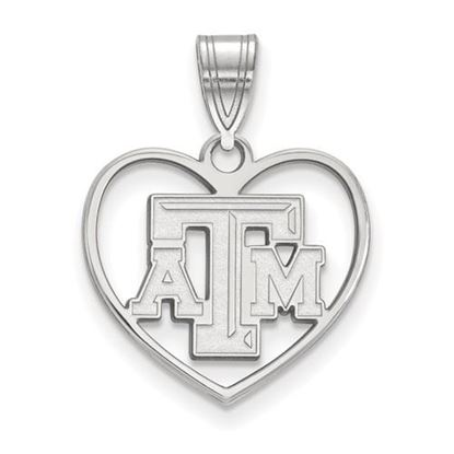 Picture of Texas A&M University Aggies Sterling Silver Heart Pendant