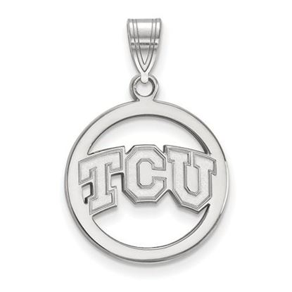 Picture of Texas Christian University Horned Frogs Sterling Silver Small Circle Pendant