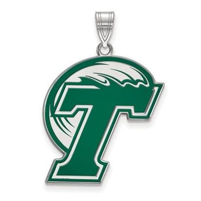 Picture of Tulane University Green Wave Sterling Silver Extra Large Enameled Pendant