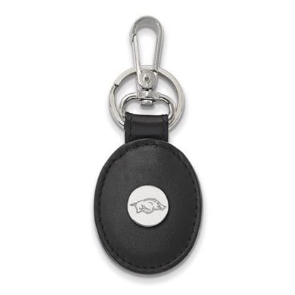 Picture of University of Arkansas Razorbacks Sterling Silver Black Leather Oval Key Chain