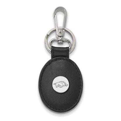 Picture of University of Arkansas Razorbacks Sterling Silver Black Leather Oval Key Chain