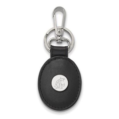 Picture of Washington State University Cougars Sterling Silver Black Leather Oval Key Chain