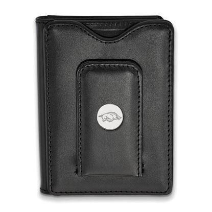 Picture of University of Arkansas Razorbacks Sterling Silver Black Leather Wallet