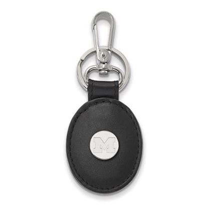 Picture of University of Michigan Wolverines Sterling Silver Black Leather Oval Key Chain
