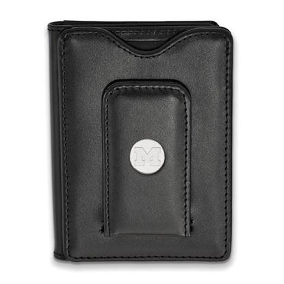 Picture of University of Michigan Wolverines Sterling Silver Black Leather Wallet