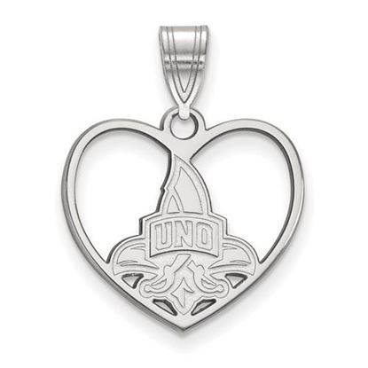 Picture of University of New Orleans Privateers Sterling Silver Heart Pendant