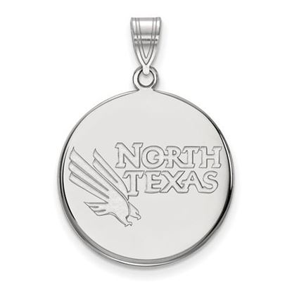 Picture of University of North Texas Mean Green Sterling Silver Large Disc Pendant