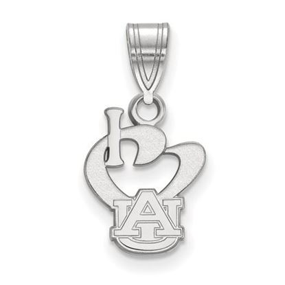 Picture of Auburn University Tigers Sterling Silver Small I Love Logo Pendant