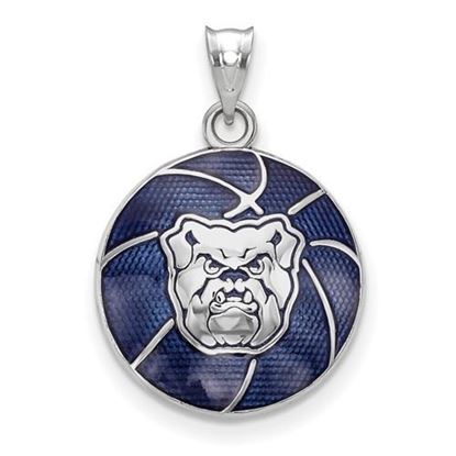 Picture of Butler University Bulldogs Sterling Silver Bulldog Enameled Basketball Pendant