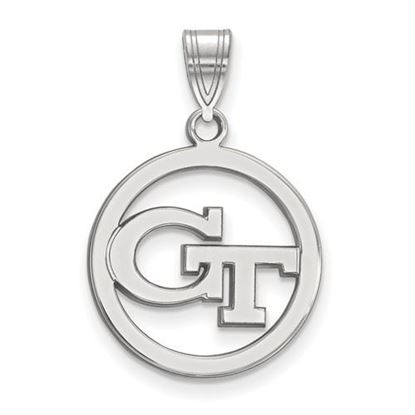 Picture of Georgia Tech Yellow Jackets Sterling Silver Small Circle Pendant