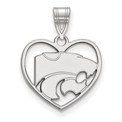 Picture of Kansas State University Wildcats Sterling Silver Heart Pendant
