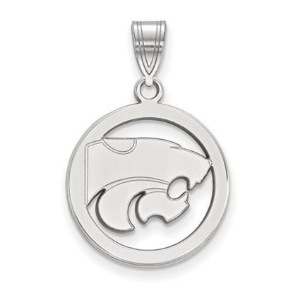 Picture of Kansas State University Wildcats Sterling Silver Small Circle Pendant
