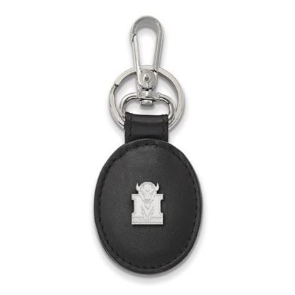 Picture of Marshall University Thundering Herd Sterling Silver Black Leather Oval Key Chain