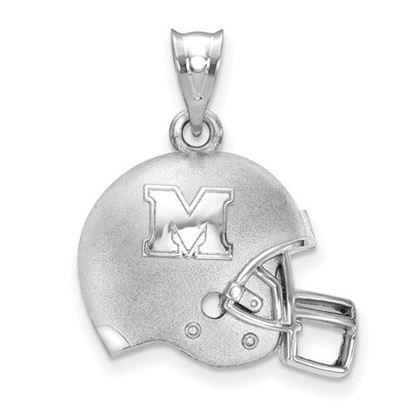 Picture of Marshall University Thundering Herd Sterling Silver 3D Football Logo Pendant
