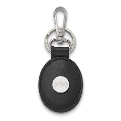 Picture of Mississippi State University Bulldogs Sterling Silver Black Leather Oval Key Chain