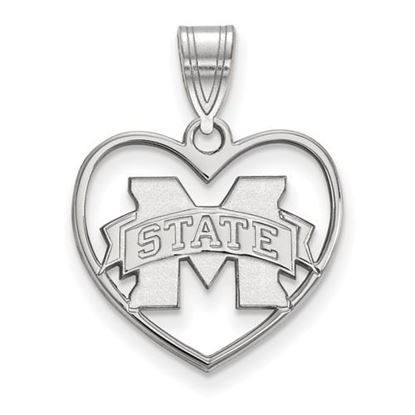 Picture of Mississippi State University Bulldogs Sterling Silver Heart Pendant