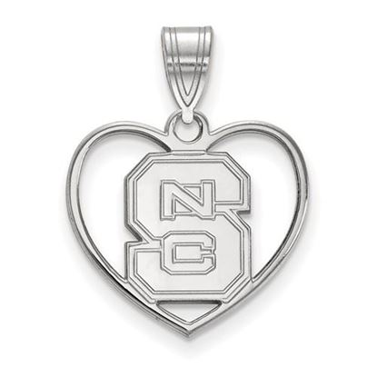Picture of North Carolina State University Woldpack Sterling Silver Heart Pendant