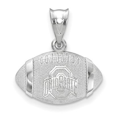 """Picture of Ohio State University Buckeyes Sterling Silver Block """"O"""" 3D Football Pendant"""