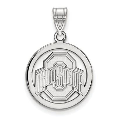 Picture of Ohio State University Buckeyes Sterling Silver Small Circle Pendant