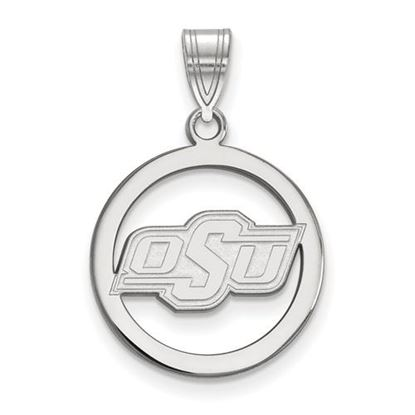Picture of Oklahoma State University Cowboys Sterling Silver Small Circle Pendant