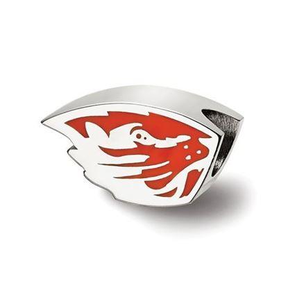 Picture of Oregon State University Beavers Sterling Silver Beaver Head Enameled Logo Bead