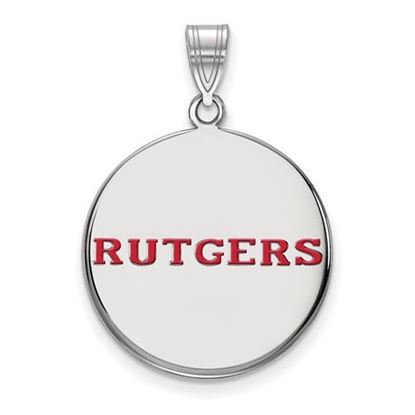 Picture of Rutgers University Scarlet Knights Sterling Silver Large Enameled Disc Pendant