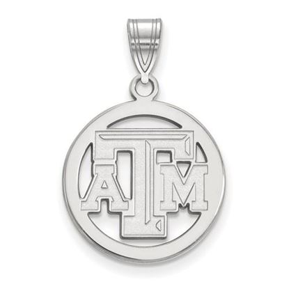 Picture of Texas A&M University Aggies Sterling Silver Small Circle Pendant