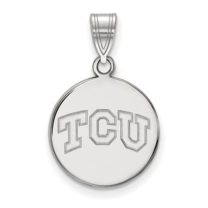 Picture of Texas Christian University Horned Frogs Sterling Silver Medium Disc Pendant