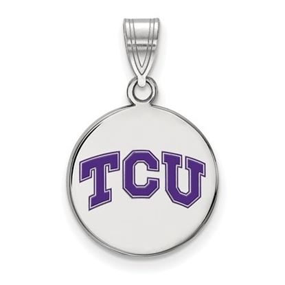 Picture of Texas Christian University Horned Frogs Sterling Silver Medium Enameled Disc Pendant