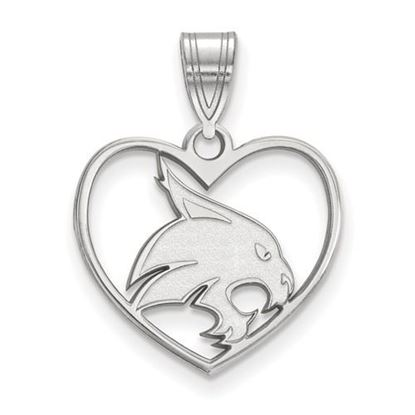 Picture of Texas State University Bobcats Sterling Silver Heart Pendant