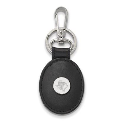 Picture of Texas Tech University Red Raiders Sterling Silver Black Leather Oval Key Chain