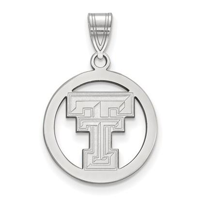 Picture of Texas Tech University Red Raiders Sterling Silver Small Circle Pendant