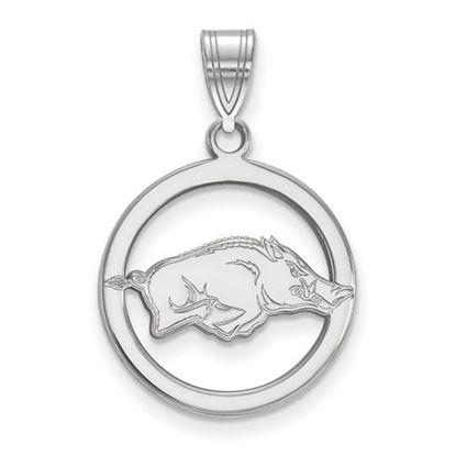Picture of University of Arkansas Razorbacks Sterling Silver Small Circle Pendant