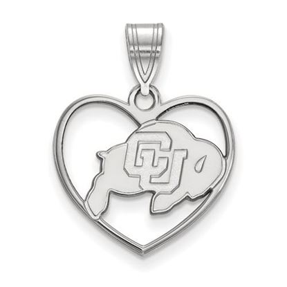 Picture of University of Colorado Buffaloes Sterling Silver Heart Pendant