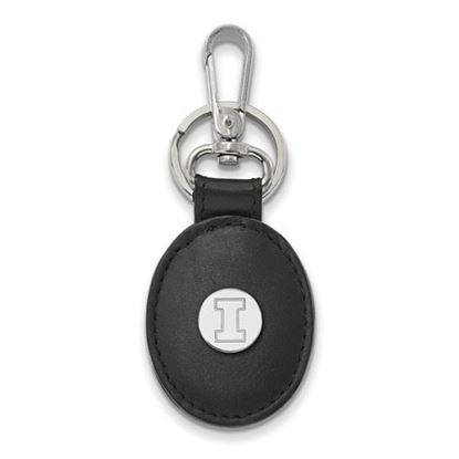 Picture of University of Illinois Fighting Illini Sterling Silver Black Leather Oval Key Chain