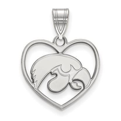 Picture of University of Iowa Hawkeyes Sterling Silver Heart Pendant