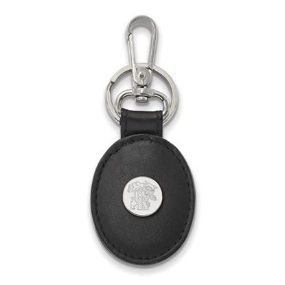 Picture of University of Kentucky Wildcats Sterling Silver Black Leather Oval Key Chain
