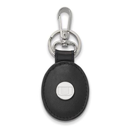 Picture of University of Miami Hurricanes Sterling Silver Black Leather Oval Key Chain