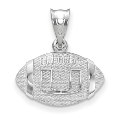 Picture of University of Miami Hurricanes Sterling Silver Football Pendant