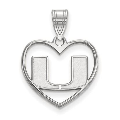 Picture of University of Miami Hurricanes Sterling Silver Heart Pendant