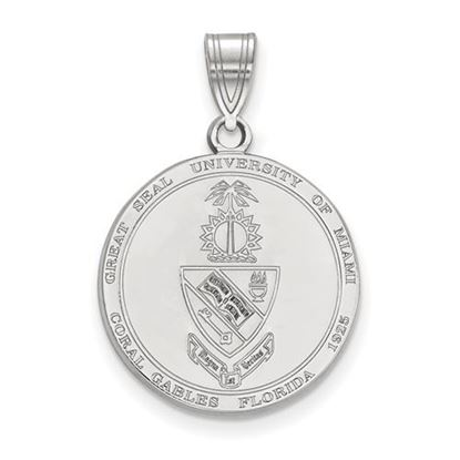 Picture of University of Miami Hurricanes Sterling Silver Large Crest Pendant