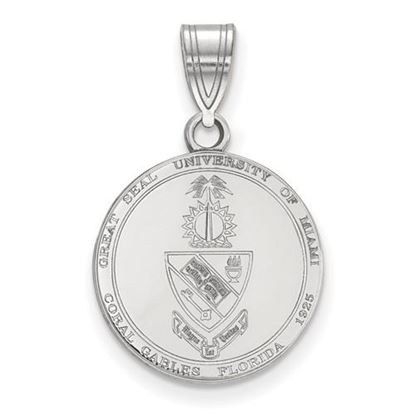 Picture of University of Miami Hurricanes Sterling Silver Medium Crest Pendant