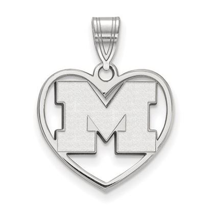 Picture of University of Michigan Wolverines Sterling Silver Heart Pendant