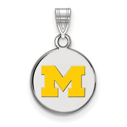 Picture of University of Michigan Wolverines Sterling Silver Small Yellow Enameled Disc Pendant