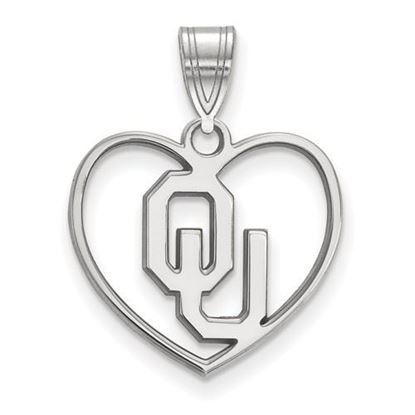 Picture of University of Oklahoma Sooners Sterling Silver Heart Pendant