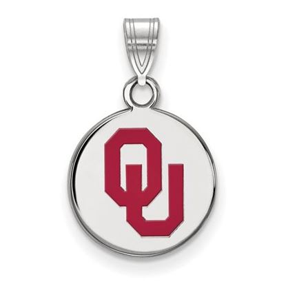 Picture of University of Oklahoma Sooners Sterling Silver Small Enameled Disc Pendant
