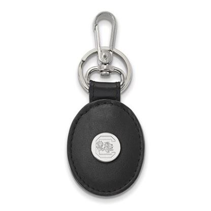 Picture of University of South Carolina Gamecocks Sterling Silver Black Leather Oval Key Chain