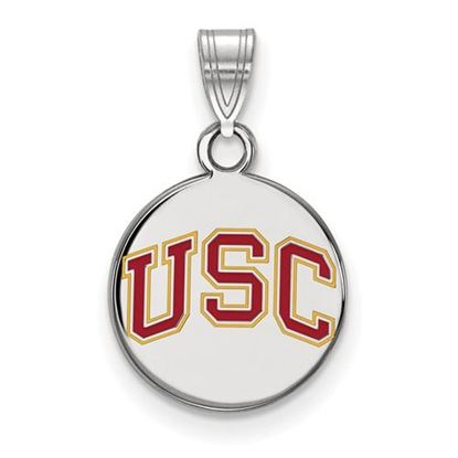 Picture of University of Southern California Trojans Sterling Silver Small Enameled Disc Pendant