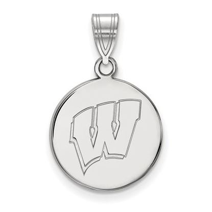 Picture of University of Wisconsin Badgers Sterling Silver Medium Disc Pendant